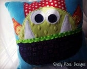 Monster Tooth Fairy Pillow--Made to Order--Handmade OOAK--Rainbow