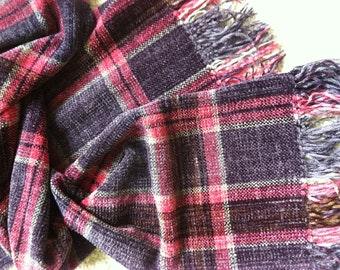 Handwoven Plaid Chenille Scarf Lavender Pinks,  Pink Coral Lavender Woven Chenille Plaid Scarf Bound Finish
