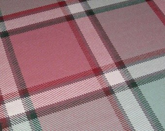 Hand Woven Plaid Wool Rug, Handwoven Rug Runner in Reds and Greens
