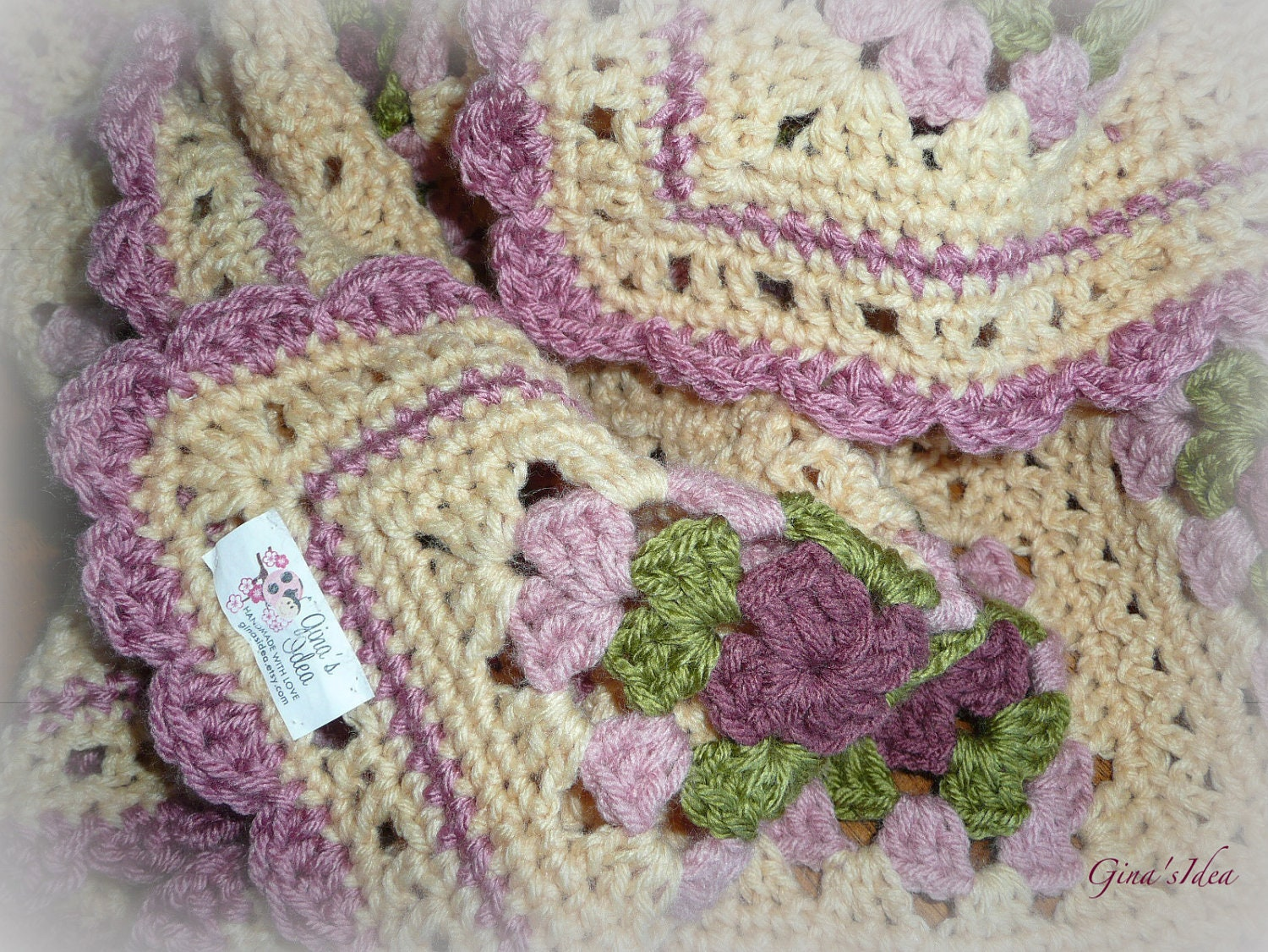 Crocheted Soft Baby Girl Blanket Afghan Granny By Ginasidea