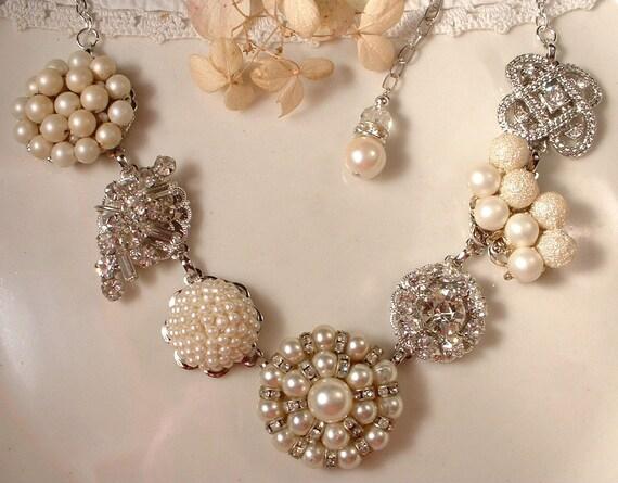 OOAK Vintage Art Deco Ivory Pearl Rhinestone Bridal Necklace, Vintage Heirloom Cluster Earring Necklace