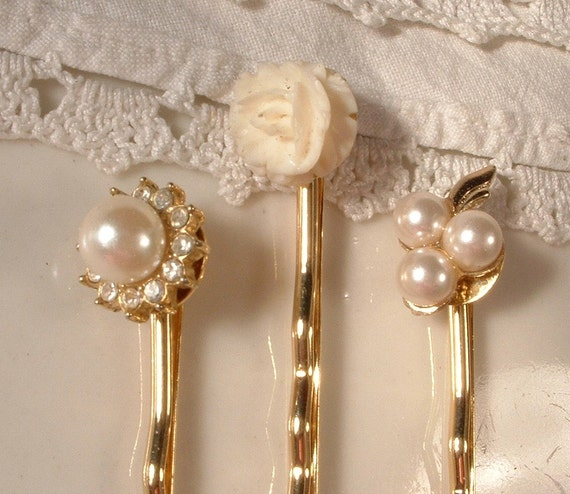 Vintage Dainty Carved Ivory, Pearl & Rhinestone Gold Jeweled Bridal Bobby Pins - 22K Gold Heirloom Jeweled Hair Clips Set of 3
