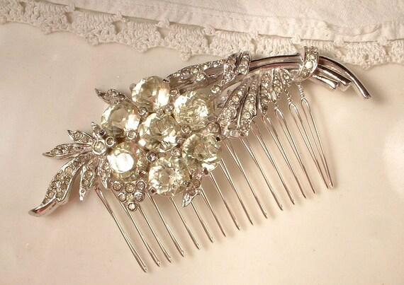 TRUE Vintage Pale Yellow / Cream Diamond Rhinestone Floral Spray Bridal Hair Comb, Large Art Deco Heirloom Crystal Encrusted Brooch Haircomb