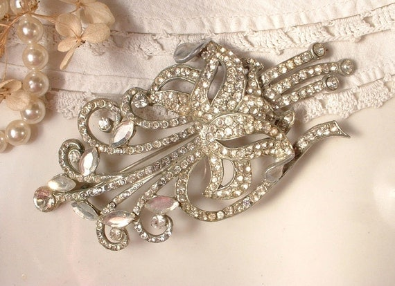 Brooch OR Hair Comb, LARGE 1920s Art Deco Nouveau Rhinestone, Pave Crystal TRUE Vintage Floral Bridal Brooch 4.25 Inches