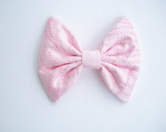 Pink Hair Bow For Girls, Zig-Zag Stripe, Barbie Pink Cotton Hair Bow, For Women