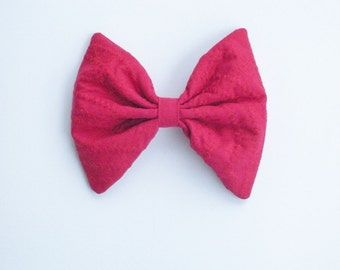 Snow White Red Hair Bow, Zig-Zag Stripe, Large Hair Bow, For Girls, For Women SALE