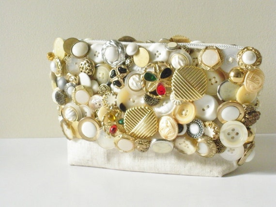 RESERVED FOR mirelapetcu Gold Clutch- Handbag- Button Covered Bag- Vintage Materials
