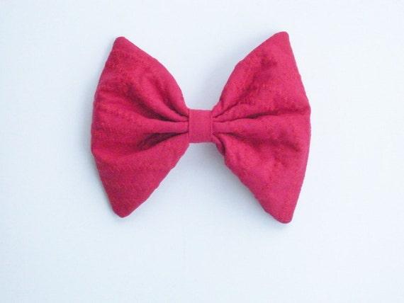 Snow White Red Hair Bow, Zig-Zag Stripe, Large Hair Bow, For Girls, For Women