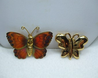 Vintage Monet Tiny butterfly brooch with another Monarch Butterfly