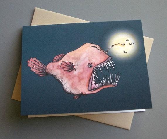Anglerfish Notecard and Envelope