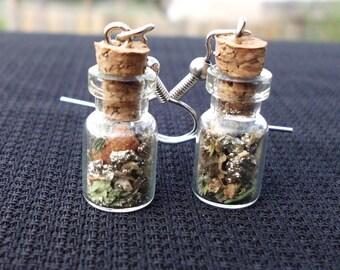 Prosperity Talisman Earrings, Tiny Cork Bottle Earrings to Attract Abundance, Luck and Money