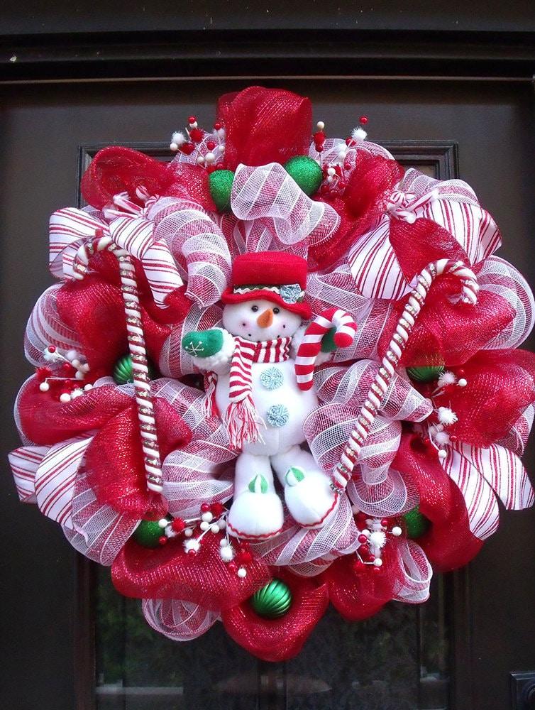 christmas deco mesh wreath christmas wreaths snowman wreath. Black Bedroom Furniture Sets. Home Design Ideas