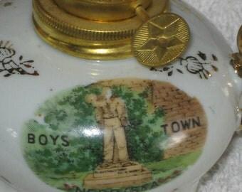 VINTAGE BOYS TOWN Nebraska - Souvenir Oil Lantern - Never Used - Piece of History