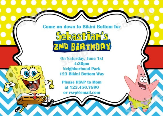 Spongebob Chevron Birthday Invitation DIY by modpoddesigns