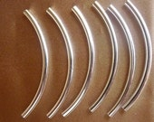 Bead, Silver Plated, Brass, 50x3mm, Curved Tube, Pkg Of 10