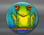 """3.5"""" frog fridge magnet, kitchen decor, gift for kids, frog decor, large fridge magnet, kids gift magnet, MA-101"""