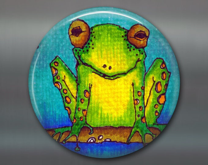 "3.5"" frog fridge magnet, kitchen decor, gift for kids, frog decor, large fridge magnet, kids gift magnet, MA-101"