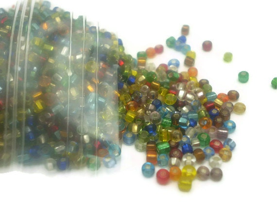 DESTASH - Bag of Glass Seed Beads, Multi-color