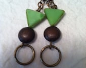 Antique Copper and Brass and Ceramic Earrings - EST016 - SOLD 12/15/2012