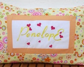 Canary Yellow Applique Name Pillow  - Birthday Nursery Kids Room Gift