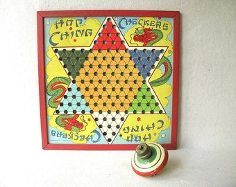 Vintage Chinese Checker Board, cardboard, wood, Hop Ching