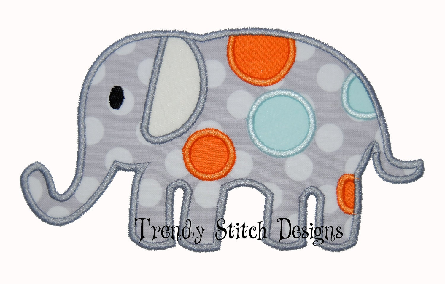 spotted elephant applique design machine embroidery design. Black Bedroom Furniture Sets. Home Design Ideas