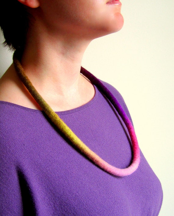 Necklace. Felted Necklace. Wet Felted Wool Cord. Handmade Felt Jewelry