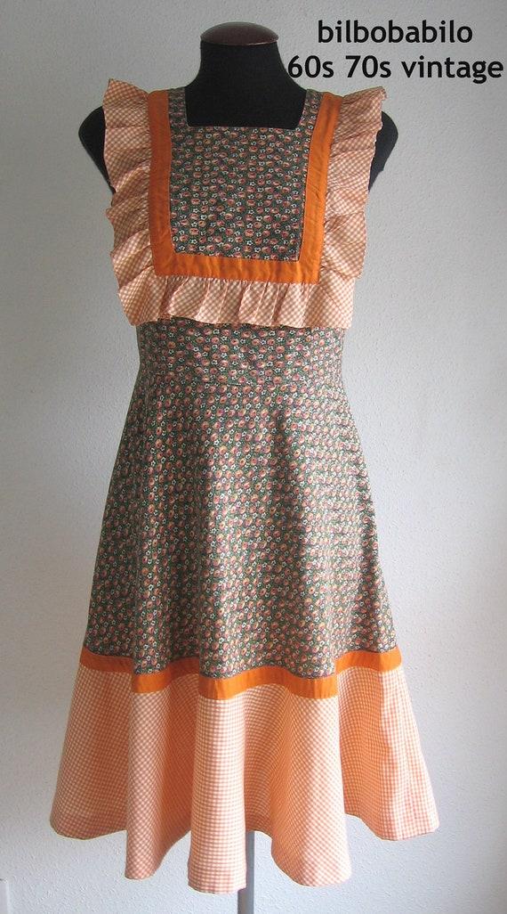 SALE 70s vintage ginghan prairie boho dress