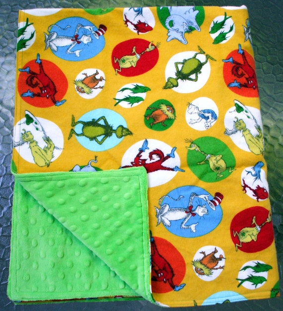 "Baby Blanket - Dr. Seuss Flannel with Bright Green Dimple Minky, 30"" X 35"""