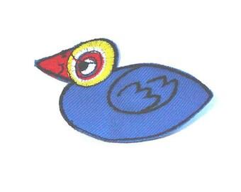 Duck Applique, Blue Duck Patch, Blue Bird, Cartoon Bird, Embroidered Applique, Blue, Red, Yellow, Patch, Lot of 12