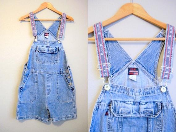 Denim Overalls Vintage Blue Jean Shorts Medium
