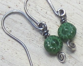Flower Green Glass and Sterling Silver Spiral Earrings