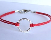 "Karma / Eternity / Harmony Bracelet, 5/8"" (15mm) Silver Hammered Circle on Red Waxed Cotton Cord, Unisex - Choice of 18 Colors"