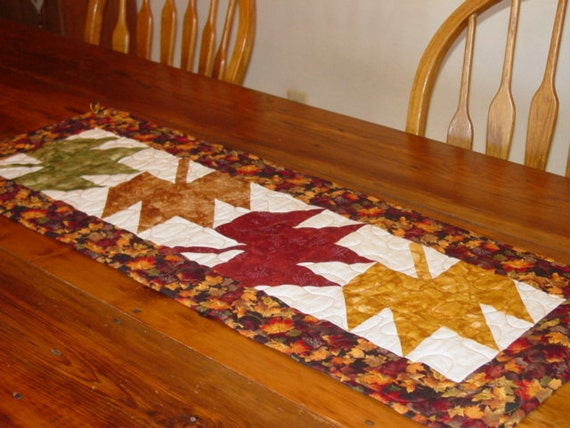 Thanksgiving Quilted Table Runner Patterns : Thanksgiving Fall Leaves Quilted Table Runner Made and Ready