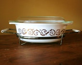Mid Century Pyrex Promotional Dish with Holder - Empire Scroll