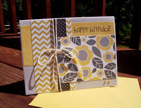 Birthday Card - Yellow Grey Flowers Leaves Chevron Dots Stripes, Steel Grey Black Yellow
