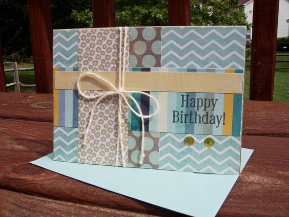 Birthday Card - Teal White Chevron, Dots Stripes, Pale Yellow Grey Light Teal Aqua Blue, Best Year Ever