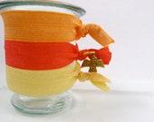 Elastic Hair Ties, Indian Summer 3 Pack, Hot Coral, Tangerine Orange and Yellow, Thunderbird Charm
