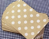 20 KRAFT BROWN Polka Dot Mini paper gift bags - 2.75 x 4 bitty bags - gift wrapping, packaging, wedding favors