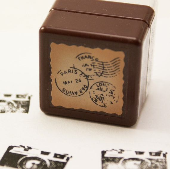 PHOTO REAL par avion Paris France & London post marks Self-Inking Rubber Stamp