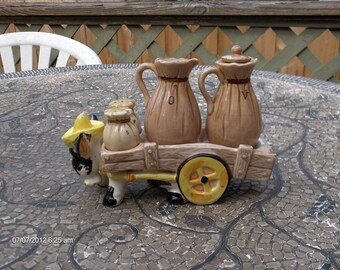 Vintage Donkey Drawn Cart  Salt Pepper and Oil Vinegar Lazy Susan - Rare