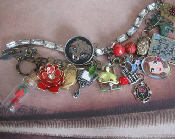 Beauty and the Beast.vintage assemblage fairytale charm bracelet