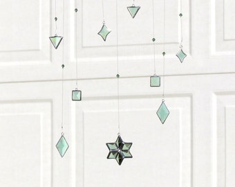 Green Beveled Stained Glass Geometric Mobile