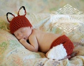 Newborn Sly Little Fox Hat and Diaper cover set crochet pattern pdf
