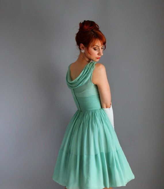 1950s Pastel Green Chiffon Party Dress. Formal. Cocktail