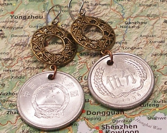 China, Authentic Coin Earrings - - Happy New Year - - Success - Fortune - Gate to the Forbidden City