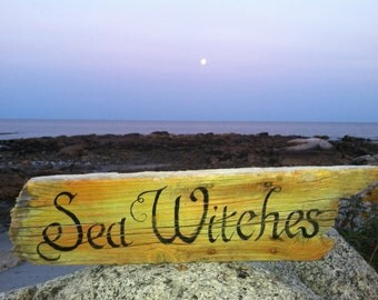 Rustic Reclaimed Driftwood Hand Painted Sea Witches, Salem Halloween Fall Home Wall Decor,