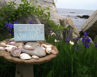 Hand Painted Reclaimed Wood Cottage Garden Sign, By The Sea, Home Decor,  Out Door Spring Gardening Gift