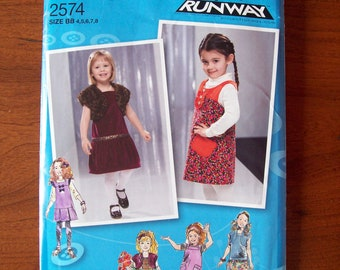 2574 Simplicity Project Runway Size 4,5,6,7,8 Patterns for Jumpers and Shrug