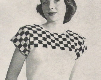 1940s knitting pattern - 40s checkered sweater pattern - pdf file - instant download